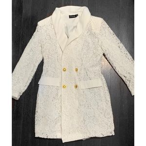 White Lace Blazer Dress